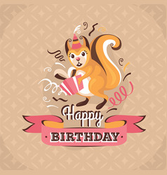 Vintage birthday greeting card with a squirrel vector