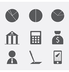 Financial analytical icons with graphs vector