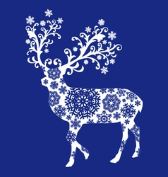 Blue chirstmas deer vector