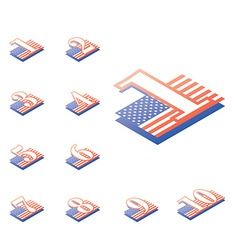 American style numeralsfrom 1 to 10 originally vector