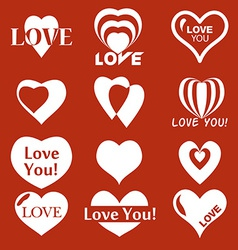 Heart icon Set of Valentines icon vector image