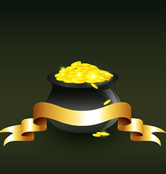 Cauldron full of gold coins vector