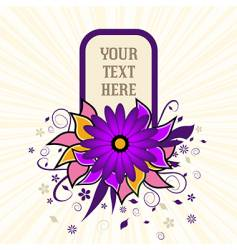 Portrait grunge flower text frame vector