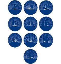 Badges with sailing ships vector
