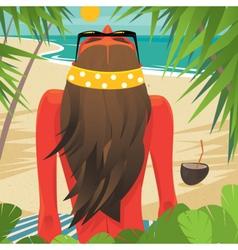 Girl sunbathes on the beach vector