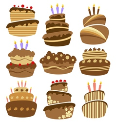 Abstract birthday cake set vector