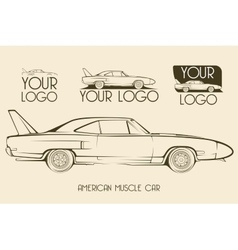 American classic muscle car silhouettes logo vector image vector image