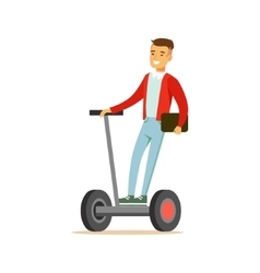 Asian guy businessman riding electric self vector