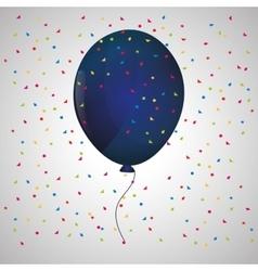 Blue balloon confetti white background vector