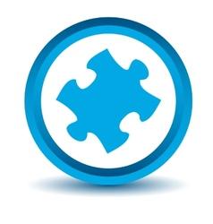 Blue puzzle icon vector