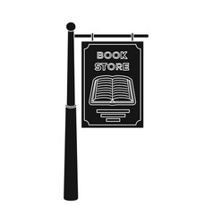 Bookstore signage icon in black style isolated on vector