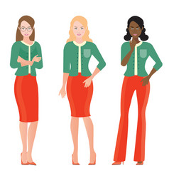 Cartoon character of business women in smart suit vector