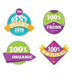 Colorful organic fresh natural labels set vector image