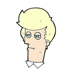 Comic cartoon man with narrowed eyes vector