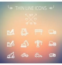 Construction thin line icon set vector