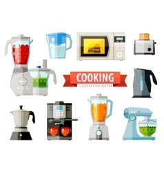 cooking icons set of elements - food processor vector image