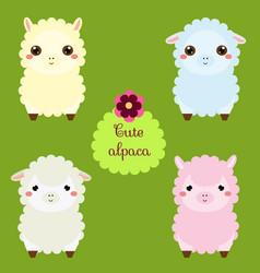 cute lamas cartoon llama characters happy kawaii vector image vector image