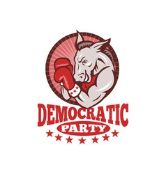 Democrat donkey mascot boxing vector