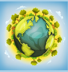 Earth planet with forest and agriculture elements vector