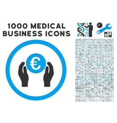 Euro Insurance Hands Icon with 1000 Medical vector image vector image