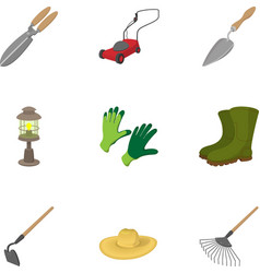 Farming icons set cartoon style vector
