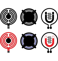 Gas electric and induction cooktop icons vector
