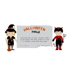 Halloween party invitation with cute kids vector