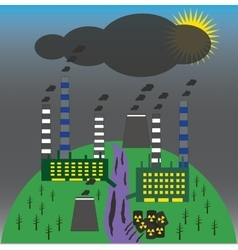 Landscape with environmental contamination vector