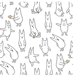 Monochrome rabbits vector