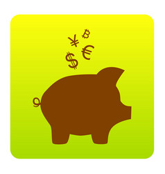 Piggy bank sign with the currencies brown vector