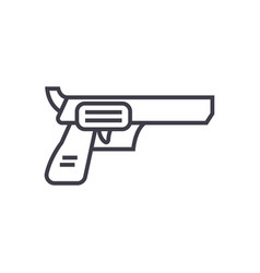 revolver pistol line icon sign vector image