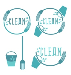 Set of cleaning labels with mop vector