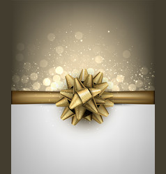 Shiny holiday background with golden bow vector