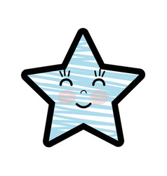 Silhouette kawaii happy and cute star design vector