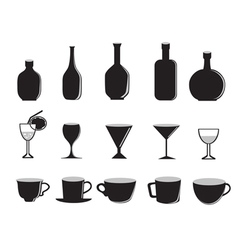 silhouette of glass bottles and cups vector image vector image