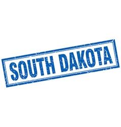 South dakota blue square grunge stamp on white vector