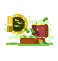 Suitcase and safe with money and golden coins vector
