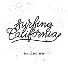 surfing california lettering vector image