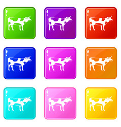 Switzerland cow icons 9 set vector