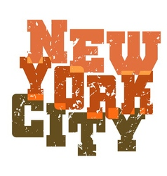 T shirt typography new york green orange vector