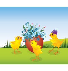Three chicken and egg vector image