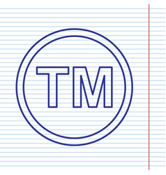 Trade mark sign navy line icon on vector