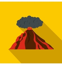 Volcano erupting icon flat style vector