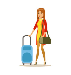 Young woman traveling with suitcase colorful vector