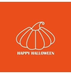 White pumpkin on orange background poster vector