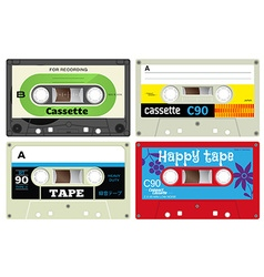 Plastic audio cassette tapes vector