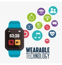 Blue smart watch wearable technology vector