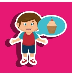 Boy cartoon cup cake vector