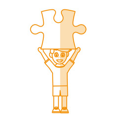Orange silhouette shading caricature guy with vector