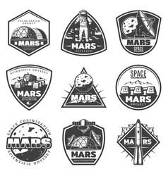 Vintage monochrome mars research labels set vector